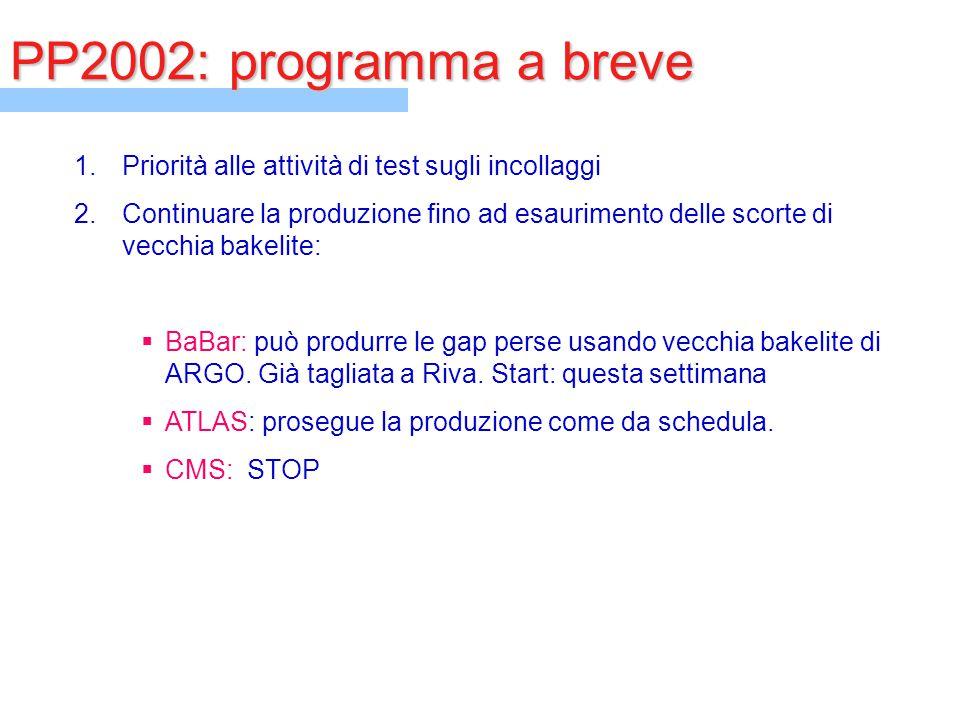 PP2002: programma a breve 1.Priorità alle attività di test sugli incollaggi 2.Continuare la produzione fino ad esaurimento delle scorte di vecchia bak