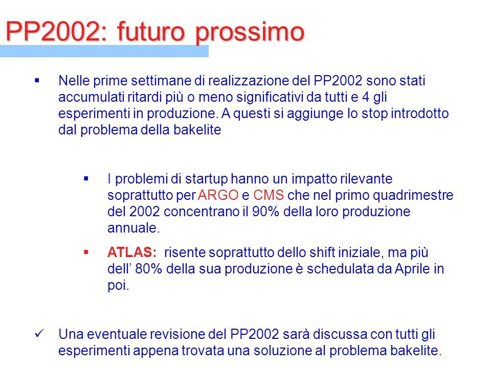 PP2002: futuro prossimo  Nelle prime settimane di realizzazione del PP2002 sono stati accumulati ritardi più o meno significativi da tutti e 4 gli es