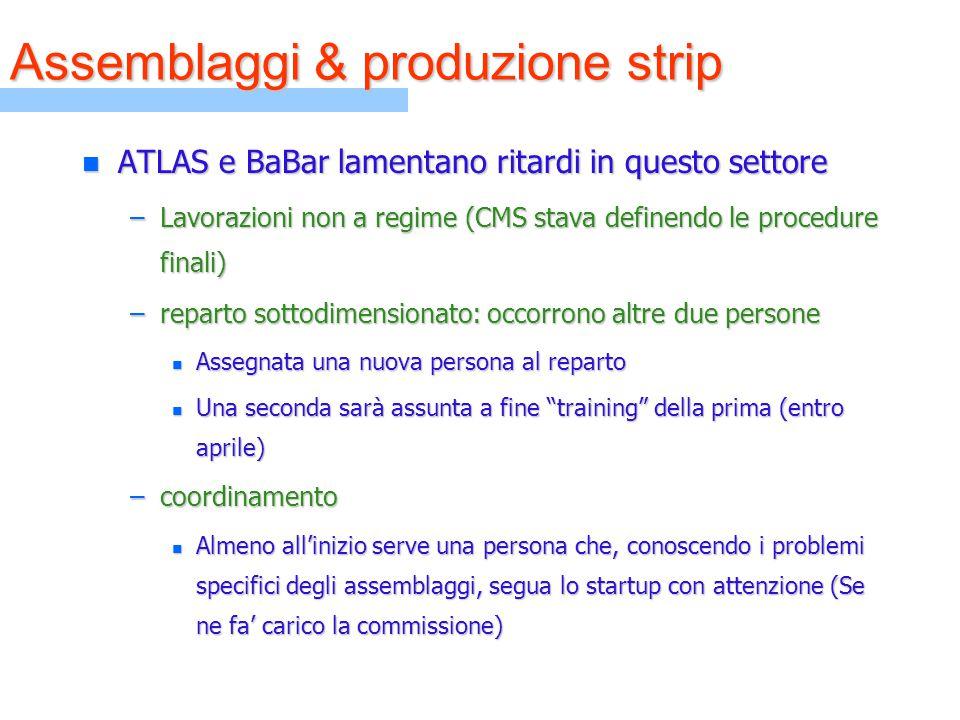 n ATLAS e BaBar lamentano ritardi in questo settore –Lavorazioni non a regime (CMS stava definendo le procedure finali) –reparto sottodimensionato: oc
