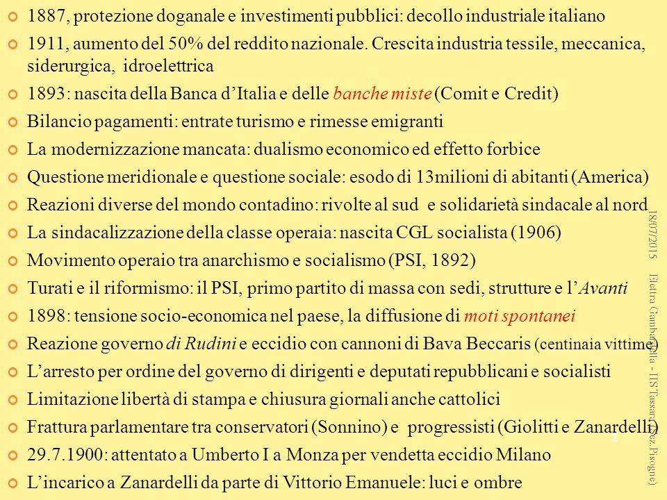 1887, protezione doganale e investimenti pubblici: decollo industriale italiano 1911, aumento del 50% del reddito nazionale.
