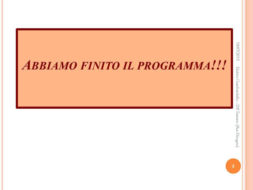 A BBIAMO FINITO IL PROGRAMMA !!! 18/07/2015 3 Elettra Gambardella - IIS Tassara (Sez.Pisogne)