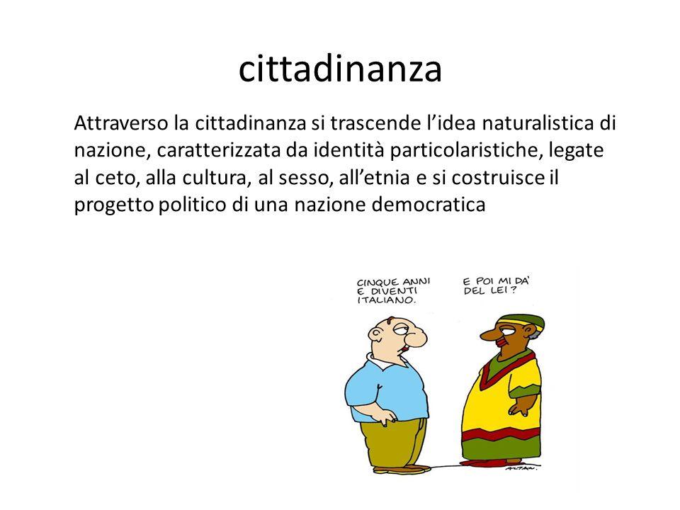 cittadinanza Attraverso la cittadinanza si trascende l'idea naturalistica di nazione, caratterizzata da identità particolaristiche, legate al ceto, alla cultura, al sesso, all'etnia e si costruisce il progetto politico di una nazione democratica