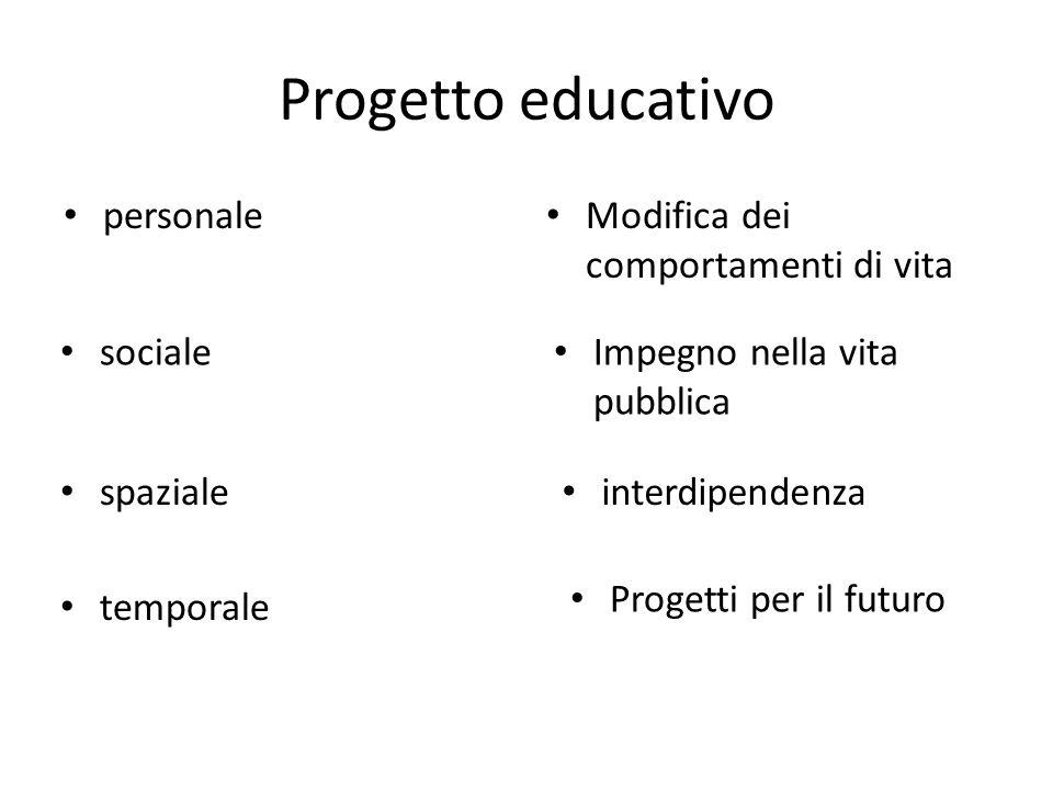 Progetto educativo personale Modifica dei comportamenti di vita Impegno nella vita pubblica sociale interdipendenza Progetti per il futuro spaziale temporale