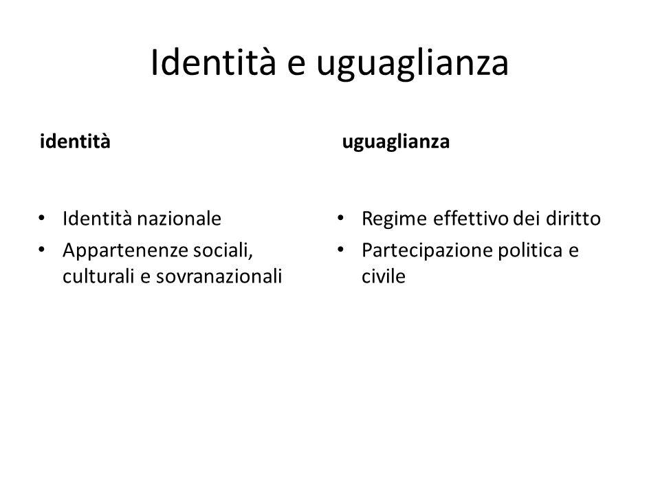 Identità e uguaglianza identità Identità nazionale Appartenenze sociali, culturali e sovranazionali uguaglianza Regime effettivo dei diritto Partecipazione politica e civile