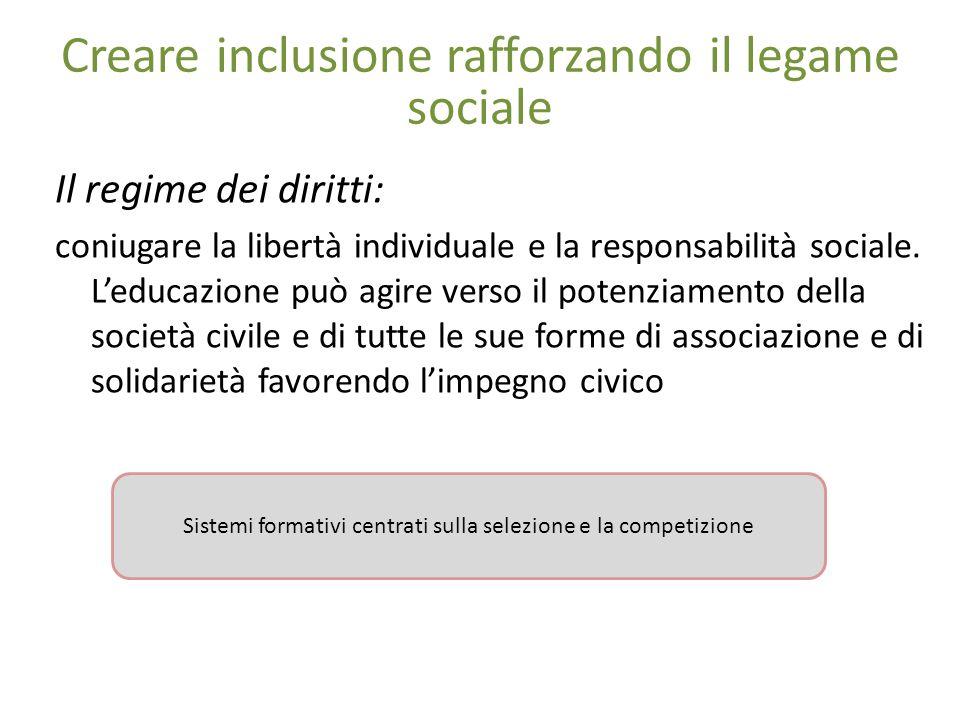 Creare inclusione rafforzando il legame sociale Il regime dei diritti: coniugare la libertà individuale e la responsabilità sociale.