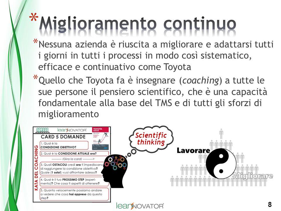 8 * Nessuna azienda è riuscita a migliorare e adattarsi tutti i giorni in tutti i processi in modo così sistematico, efficace e continuativo come Toyo