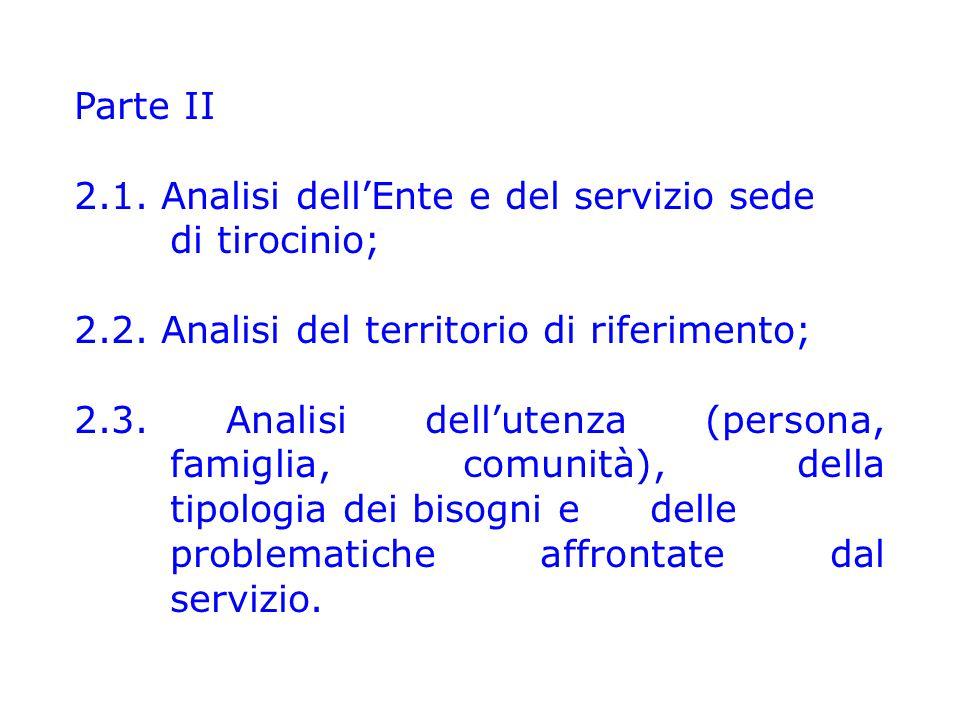 Parte II 2.1. Analisi dell'Ente e del servizio sede di tirocinio; 2.2. Analisi del territorio di riferimento; 2.3. Analisi dell'utenza (persona, famig