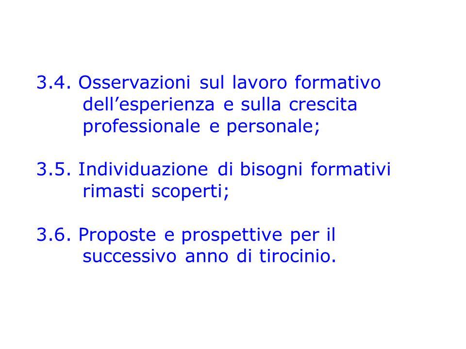 3.4. Osservazioni sul lavoro formativo dell'esperienza e sulla crescita professionale e personale; 3.5. Individuazione di bisogni formativi rimasti sc