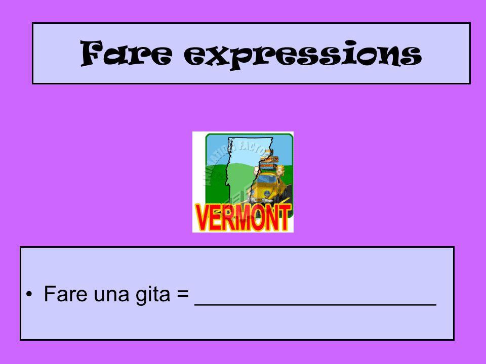 Fare expressions Fare una gita = ____________________