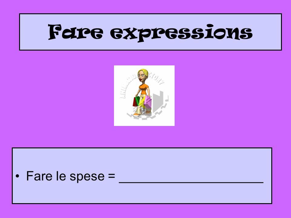 Fare expressions Fare le spese = ____________________