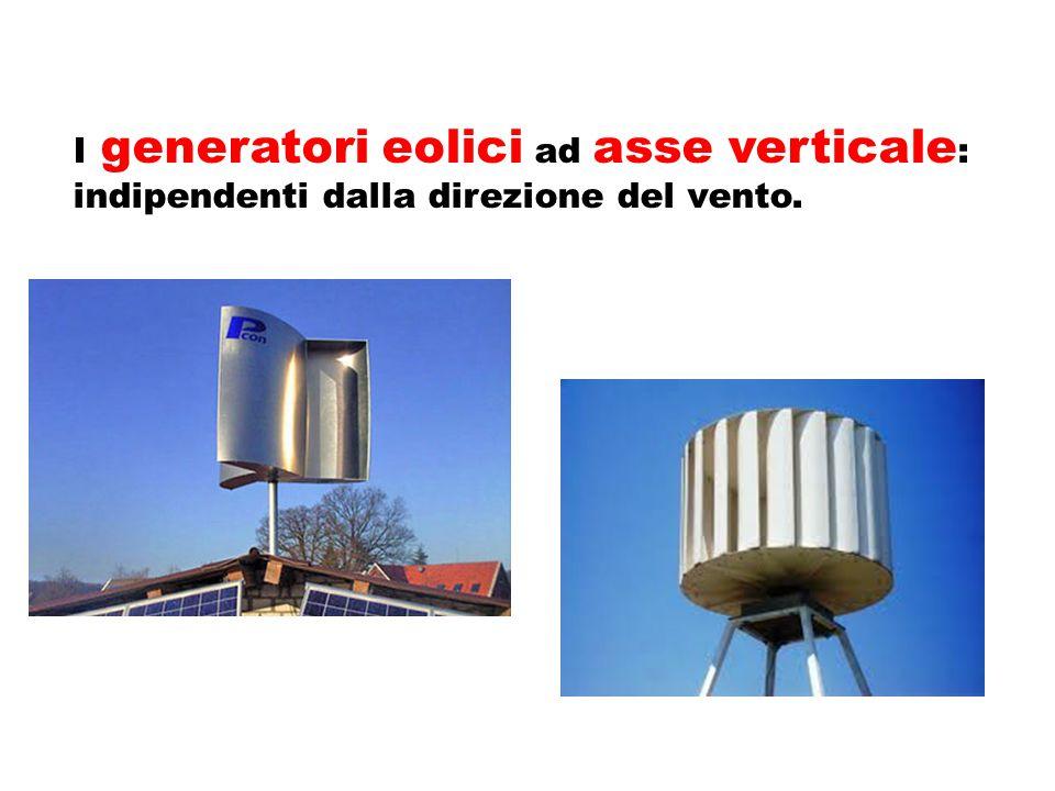 I generatori eolici ad asse orizzontale : il rotatore è orientato perpendicolarmente alla direzione del vento.