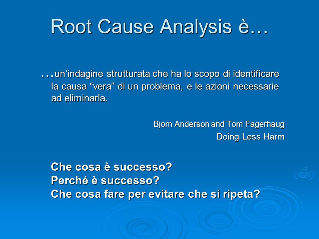 """Root Cause Analysis è… … un'indagine strutturata che ha lo scopo di identificare la causa """"vera"""" di un problema, e le azioni necessarie ad eliminarla."""
