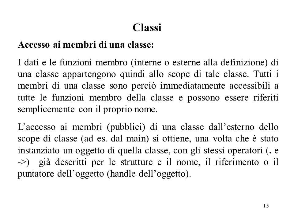 15 Classi Accesso ai membri di una classe: I dati e le funzioni membro (interne o esterne alla definizione) di una classe appartengono quindi allo scope di tale classe.
