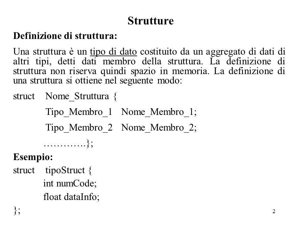 3 Strutture Dati membro di una struttura: I dati membro di una struttura possono essere di qualsiasi tipo ad eccezione di istanze di se stessa.