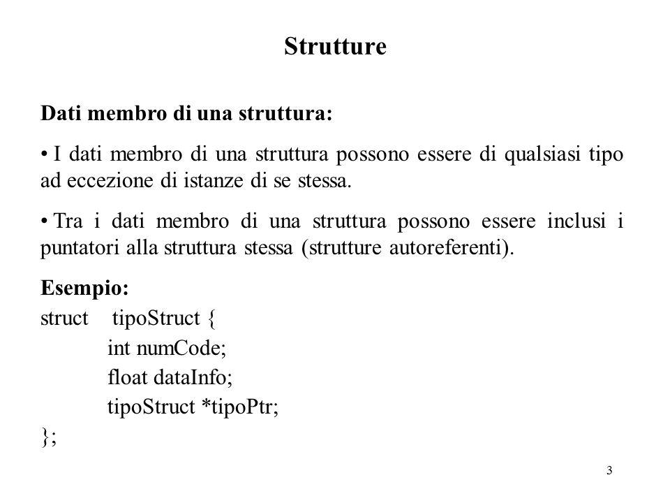 4 Strutture Dichiarazione di una struttura: I tipi di dato definiti come strutture possono essere utilizzati per dichiarare variabili, seguendo le regole classiche della dichiarazione delle variabili: in tal caso ogni variabile così dichiarata ha la composizione della struttura.