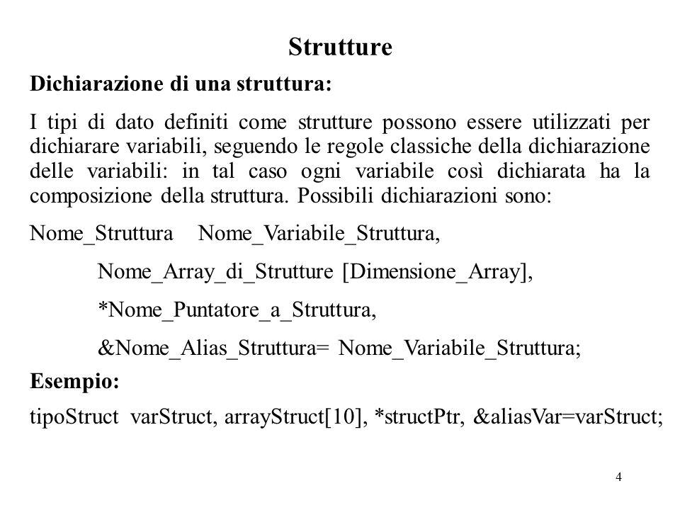 5 Strutture Accesso ai membri di una struttura: Con l'operatore punto: …...Nome_Variabile_Struttura.
