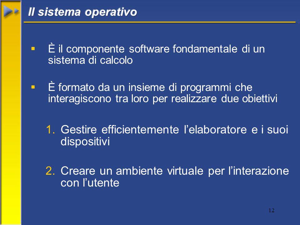 12  È il componente software fondamentale di un sistema di calcolo  È formato da un insieme di programmi che interagiscono tra loro per realizzare due obiettivi 1.Gestire efficientemente l'elaboratore e i suoi dispositivi 2.Creare un ambiente virtuale per l'interazione con l'utente