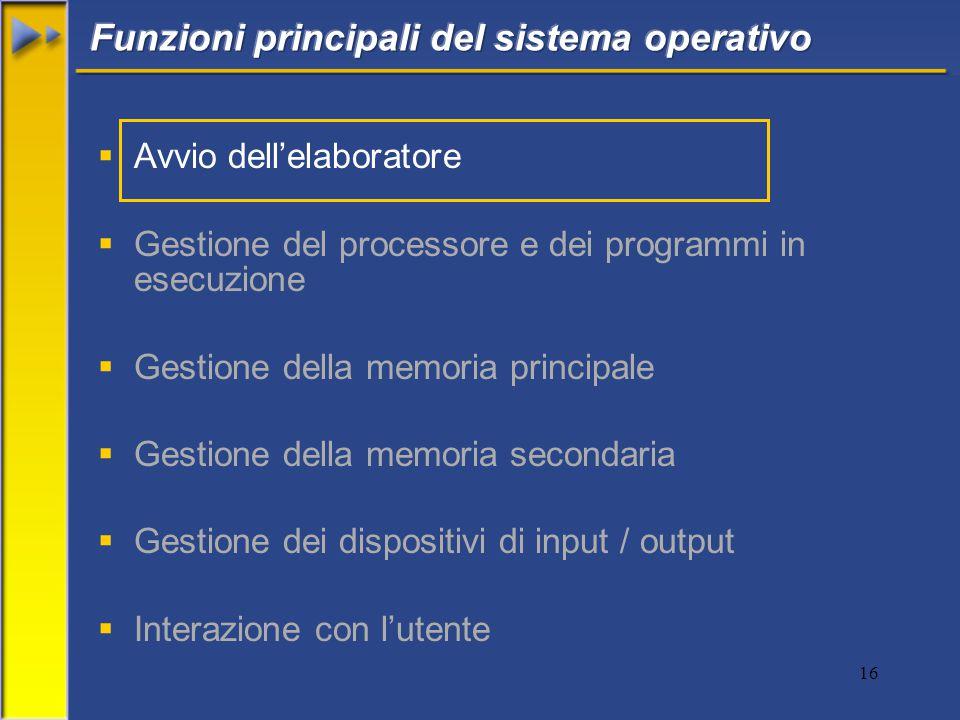 16  Avvio dell'elaboratore  Gestione del processore e dei programmi in esecuzione  Gestione della memoria principale  Gestione della memoria secondaria  Gestione dei dispositivi di input / output  Interazione con l'utente