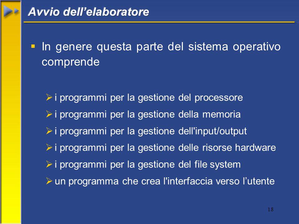 18  In genere questa parte del sistema operativo comprende  i programmi per la gestione del processore  i programmi per la gestione della memoria  i programmi per la gestione dell input/output  i programmi per la gestione delle risorse hardware  i programmi per la gestione del file system  un programma che crea l interfaccia verso l'utente