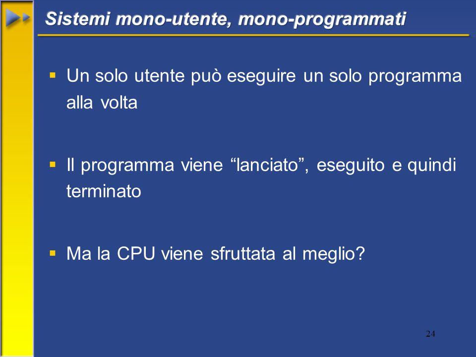 24  Un solo utente può eseguire un solo programma alla volta  Il programma viene lanciato , eseguito e quindi terminato  Ma la CPU viene sfruttata al meglio