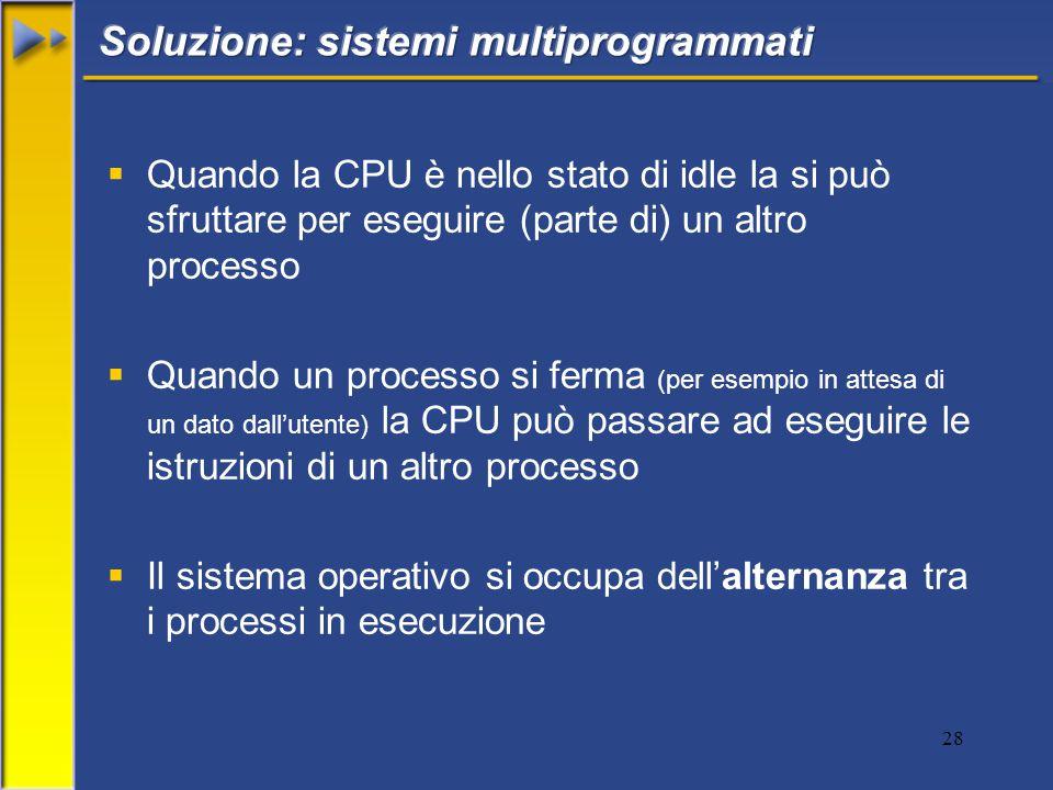 28  Quando la CPU è nello stato di idle la si può sfruttare per eseguire (parte di) un altro processo  Quando un processo si ferma (per esempio in attesa di un dato dall'utente) la CPU può passare ad eseguire le istruzioni di un altro processo  Il sistema operativo si occupa dell'alternanza tra i processi in esecuzione