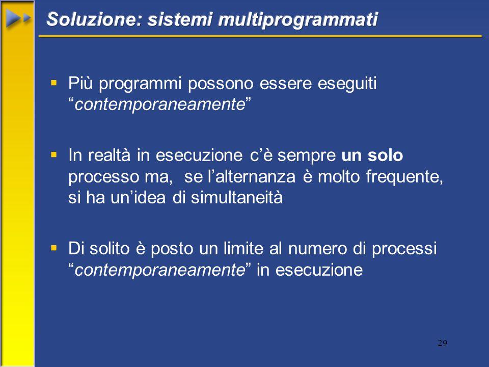 29  Più programmi possono essere eseguiti contemporaneamente  In realtà in esecuzione c'è sempre un solo processo ma, se l'alternanza è molto frequente, si ha un'idea di simultaneità  Di solito è posto un limite al numero di processi contemporaneamente in esecuzione