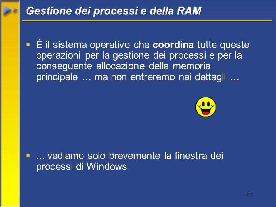 33  È il sistema operativo che coordina tutte queste operazioni per la gestione dei processi e per la conseguente allocazione della memoria principale … ma non entreremo nei dettagli … ...