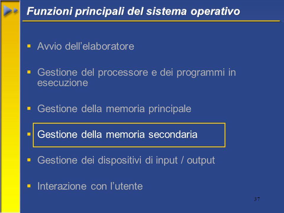 37  Avvio dell'elaboratore  Gestione del processore e dei programmi in esecuzione  Gestione della memoria principale  Gestione della memoria secondaria  Gestione dei dispositivi di input / output  Interazione con l'utente