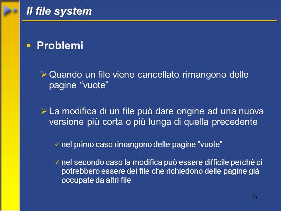 40  Problemi  Quando un file viene cancellato rimangono delle pagine vuote  La modifica di un file può dare origine ad una nuova versione più corta o più lunga di quella precedente nel primo caso rimangono delle pagine vuote nel secondo caso la modifica può essere difficile perchè ci potrebbero essere dei file che richiedono delle pagine già occupate da altri file