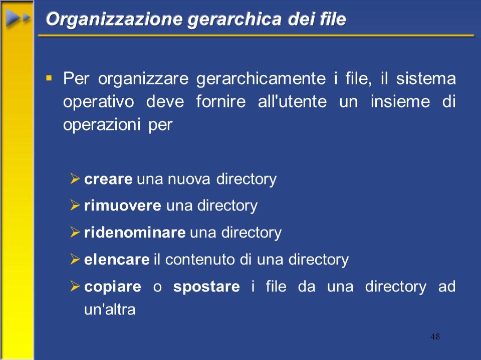 48  Per organizzare gerarchicamente i file, il sistema operativo deve fornire all utente un insieme di operazioni per  creare una nuova directory  rimuovere una directory  ridenominare una directory  elencare il contenuto di una directory  copiare o spostare i file da una directory ad un altra