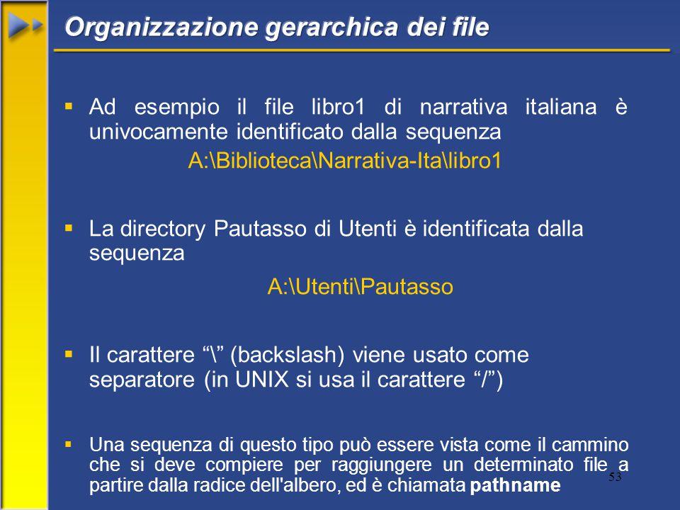 53  Ad esempio il file libro1 di narrativa italiana è univocamente identificato dalla sequenza A:\Biblioteca\Narrativa-Ita\libro1  La directory Pautasso di Utenti è identificata dalla sequenza A:\Utenti\Pautasso  Il carattere \ (backslash) viene usato come separatore (in UNIX si usa il carattere / )  Una sequenza di questo tipo può essere vista come il cammino che si deve compiere per raggiungere un determinato file a partire dalla radice dell albero, ed è chiamata pathname