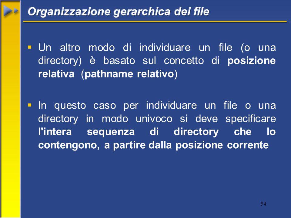 54  Un altro modo di individuare un file (o una directory) è basato sul concetto di posizione relativa (pathname relativo)  In questo caso per individuare un file o una directory in modo univoco si deve specificare l intera sequenza di directory che lo contengono, a partire dalla posizione corrente