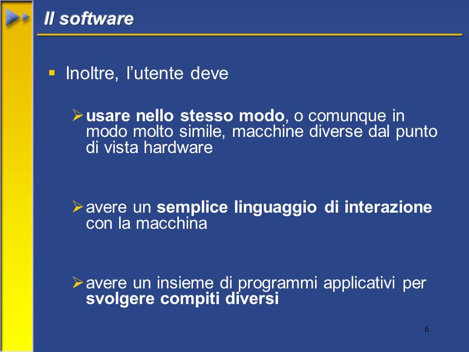 6  Inoltre, l'utente deve  usare nello stesso modo, o comunque in modo molto simile, macchine diverse dal punto di vista hardware  avere un semplice linguaggio di interazione con la macchina  avere un insieme di programmi applicativi per svolgere compiti diversi