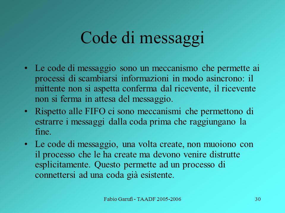 Fabio Garufi - TAADF 2005-200630 Code di messaggi Le code di messaggio sono un meccanismo che permette ai processi di scambiarsi informazioni in modo asincrono: il mittente non si aspetta conferma dal ricevente, il ricevente non si ferma in attesa del messaggio.