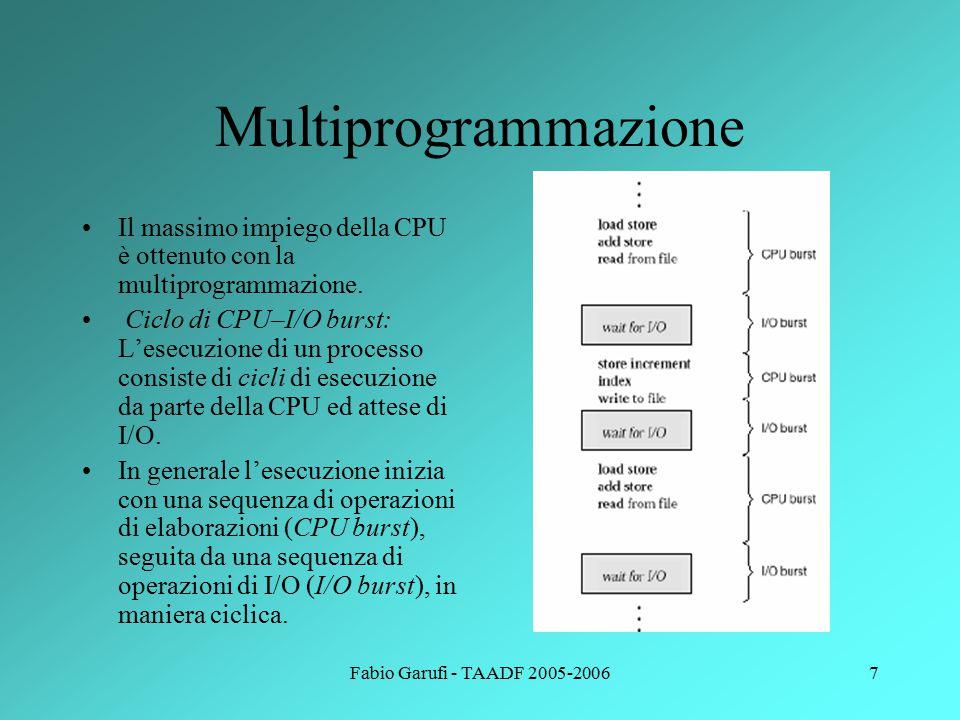 Fabio Garufi - TAADF 2005-20067 Multiprogrammazione Il massimo impiego della CPU è ottenuto con la multiprogrammazione.