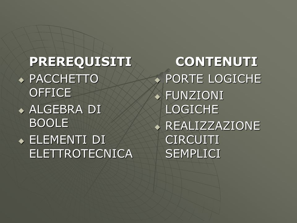 OBIETTIVI  RISOLVERE UN PROBLEMA MEDIANTE LA LOGICA DIGITALE  SPECIFICI: CONOSCENZA DELLE PORTE LOGICHE  PROGETTARE ALCUNI CIRCUITI  SINTETIZZARE ALCUNI CIRCUITI  VERIFICARE ALCUNI CIRCUITI STRUMENTI E METODOLOGIE  PROBLEM SOLVING  LEZIONI FRONTALI  SCHEDE DI LAVORO  RAPPRESENTAZIONI CON EXCEL  CAD ELETTRONICI E SIMULATORI TEMPI : NOV/GEN 20 LEZ