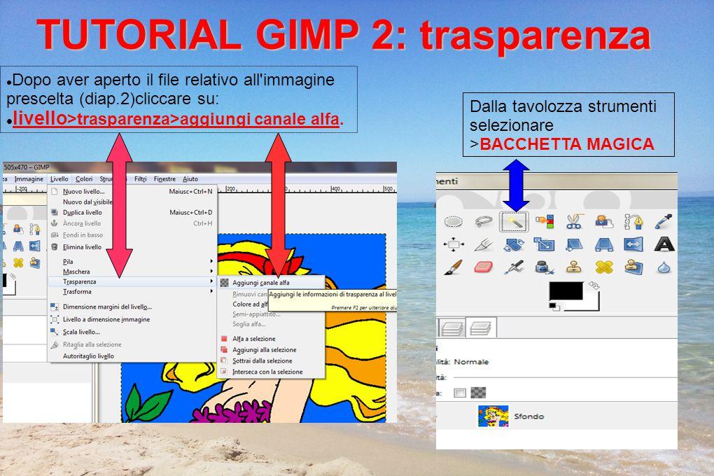 TUTORIAL GIMP 2: trasparenza Dopo aver aperto il file relativo all immagine prescelta (diap.2)cliccare su: livello >trasparenza>aggiungi canale alfa.