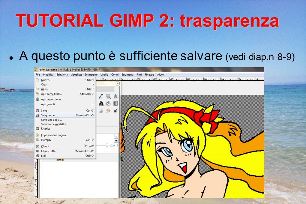 A questo punto è sufficiente salvare (vedi diap.n 8-9) TUTORIAL GIMP 2: trasparenza