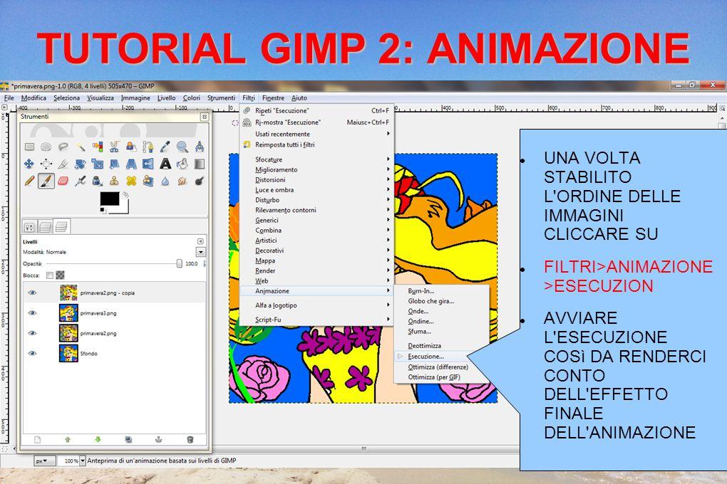 TUTORIAL GIMP 2: ANIMAZIONE UNA VOLTA STABILITO L ORDINE DELLE IMMAGINI CLICCARE SU FILTRI>ANIMAZIONE >ESECUZION AVVIARE L ESECUZIONE COSì DA RENDERCI CONTO DELL EFFETTO FINALE DELL ANIMAZIONE