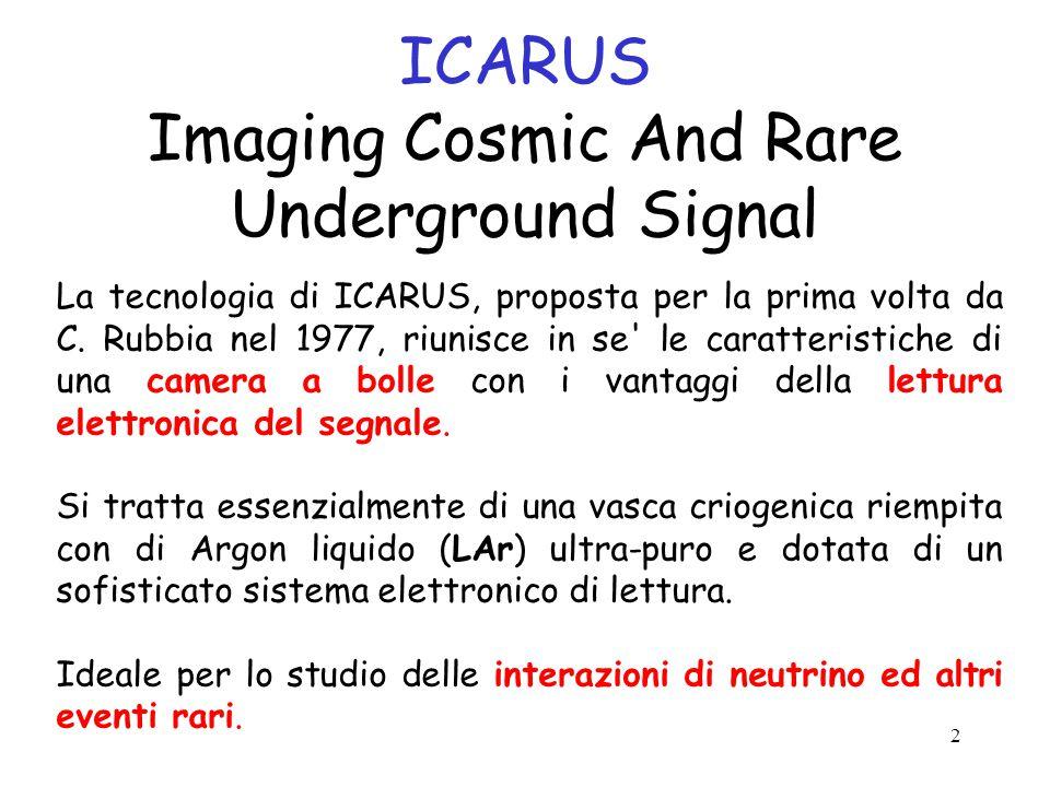2 ICARUS Imaging Cosmic And Rare Underground Signal La tecnologia di ICARUS, proposta per la prima volta da C.