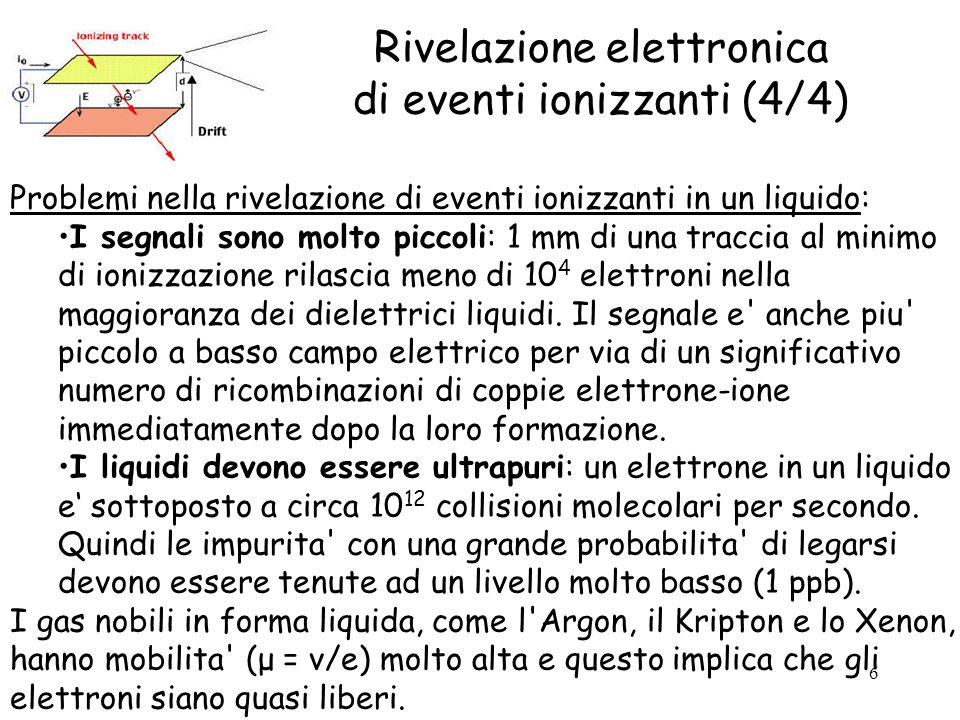 6 Rivelazione elettronica di eventi ionizzanti (4/4) Problemi nella rivelazione di eventi ionizzanti in un liquido: I segnali sono molto piccoli: 1 mm di una traccia al minimo di ionizzazione rilascia meno di 10 4 elettroni nella maggioranza dei dielettrici liquidi.