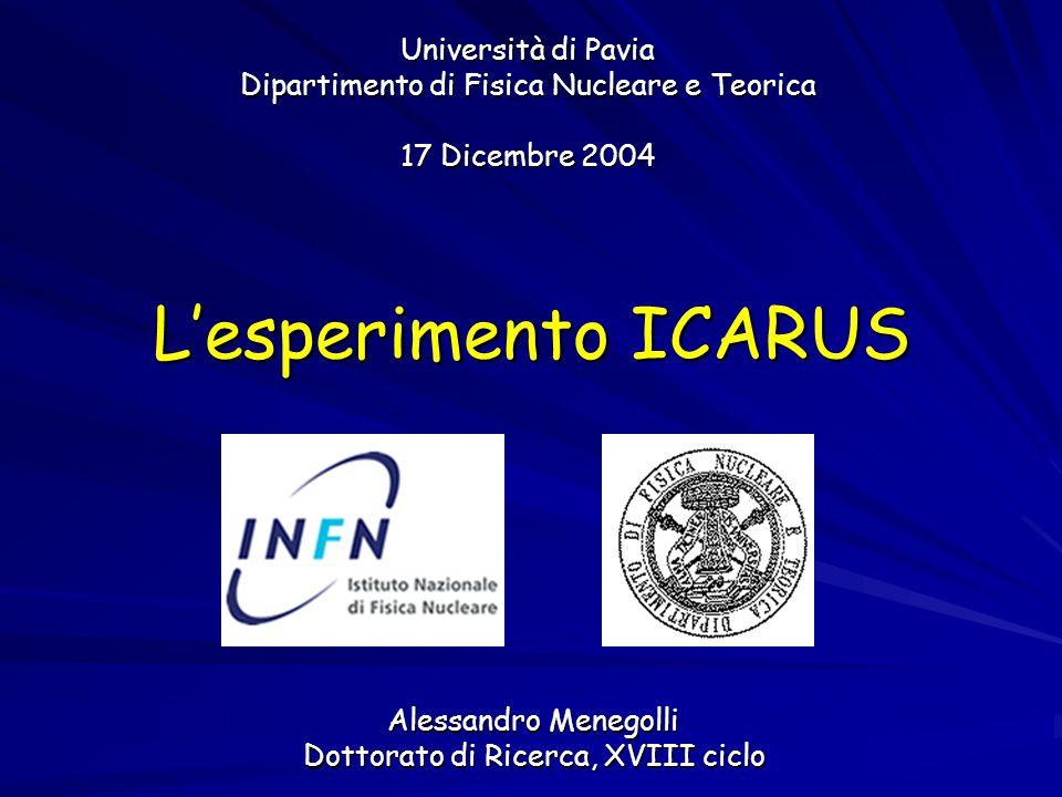 Università di Pavia Dipartimento di Fisica Nucleare e Teorica 17 Dicembre 2004 Alessandro Menegolli Dottorato di Ricerca, XVIII ciclo L'esperimento ICARUS