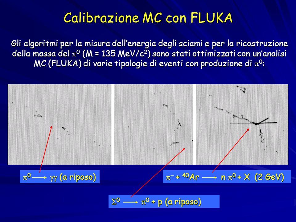 Calibrazione MC con FLUKA Gli algoritmi per la misura dell'energia degli sciami e per la ricostruzione della massa del  0 (M = 135 MeV/c 2 ) sono stati ottimizzati con un'analisi MC (FLUKA) di varie tipologie di eventi con produzione di  0 :  0  (a riposo)   + 40 Ar n  0 + X (2 GeV)  0  0 + p (a riposo)