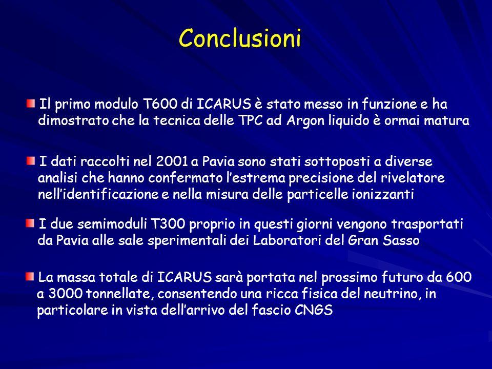Conclusioni Il primo modulo T600 di ICARUS è stato messo in funzione e ha dimostrato che la tecnica delle TPC ad Argon liquido è ormai matura I dati raccolti nel 2001 a Pavia sono stati sottoposti a diverse analisi che hanno confermato l'estrema precisione del rivelatore nell'identificazione e nella misura delle particelle ionizzanti I due semimoduli T300 proprio in questi giorni vengono trasportati da Pavia alle sale sperimentali dei Laboratori del Gran Sasso La massa totale di ICARUS sarà portata nel prossimo futuro da 600 a 3000 tonnellate, consentendo una ricca fisica del neutrino, in particolare in vista dell'arrivo del fascio CNGS