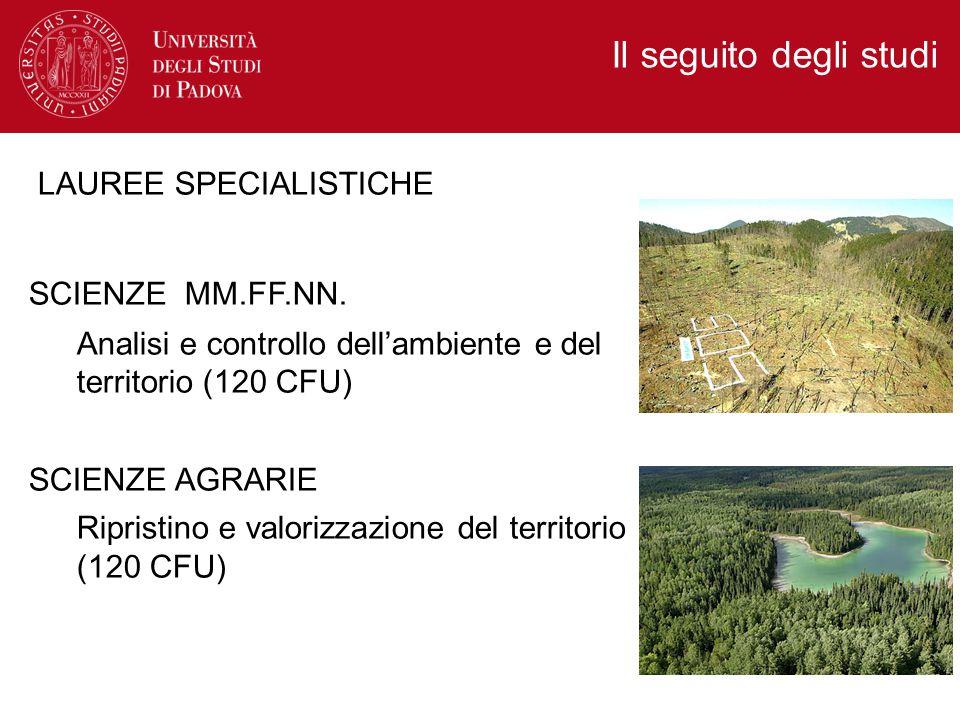 Il seguito degli studi LAUREE SPECIALISTICHE SCIENZE MM.FF.NN.