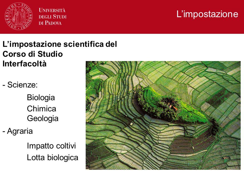 L'impostazione L'impostazione scientifica del Corso di Studio Interfacoltà - Scienze: Biologia Chimica Geologia - Agraria Impatto coltivi Lotta biologica