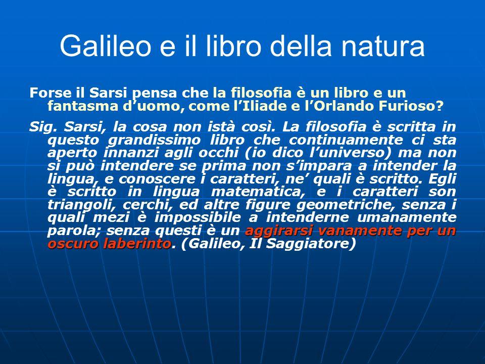 Galileo e il libro della natura Forse il Sarsi pensa che la filosofia è un libro e un fantasma d'uomo, come l'Iliade e l'Orlando Furioso.