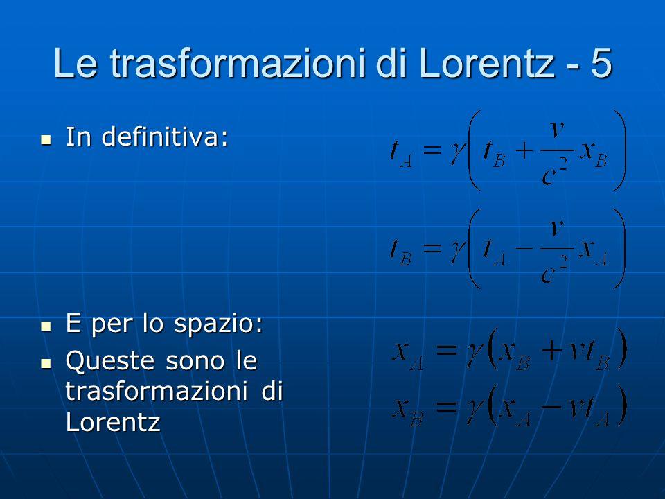 Le trasformazioni di Lorentz - 4 Vale a dire: Moltiplicando tra loro le due equazioni, ricaviamo k: Notiamo che è lo stesso coefficiente di dilatazion