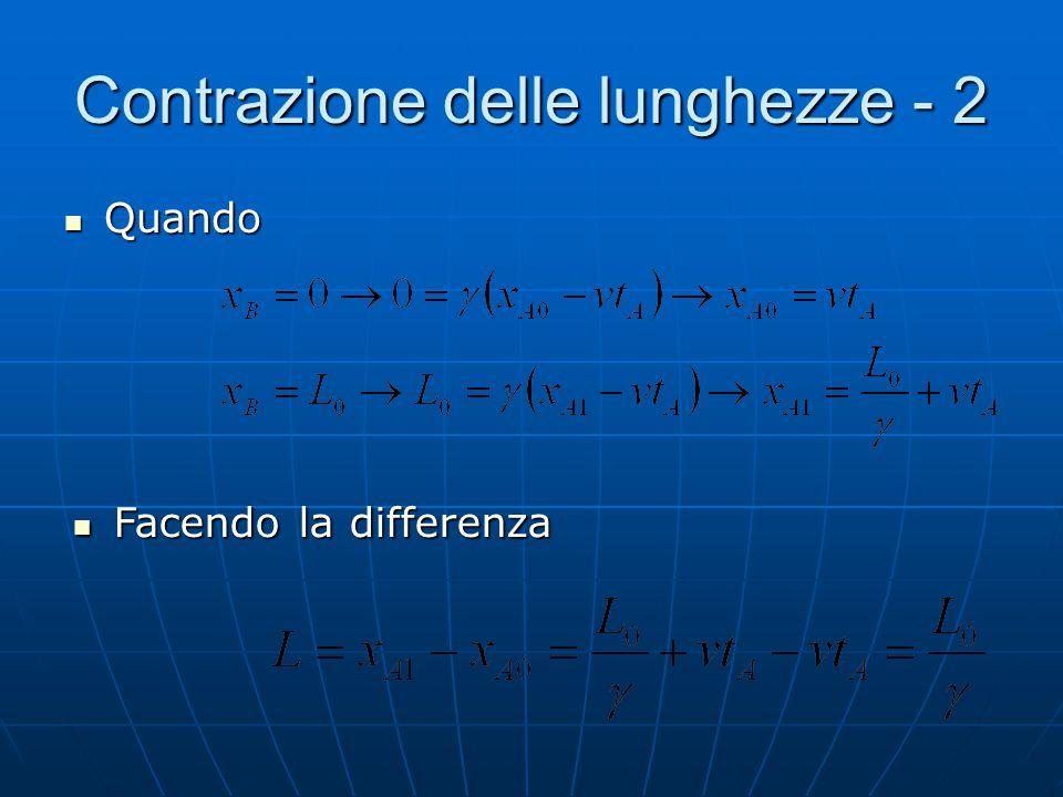 Contrazione delle lunghezze Ora possiamo usare le trasformazioni di Lorentz per valutare la contrazione delle lunghezze Ora possiamo usare le trasform