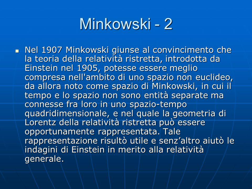 Minkowski Hermann Minkowski (Aleksotas, 22 giugno 1864 – Gottinga, 12 gennaio 1909) è stato un matematico tedesco. Egli sviluppò la teoria geometrica